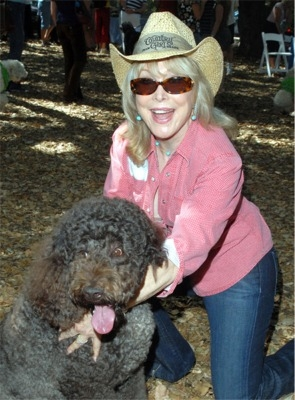 Barbara Eden and her Labradoodle
