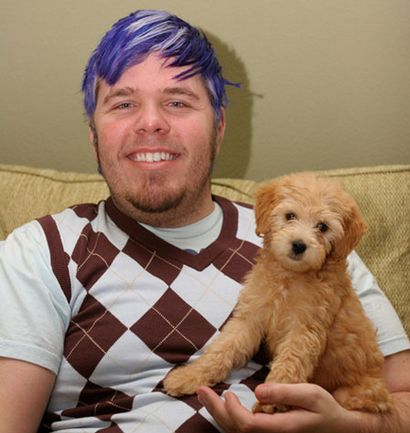 Perez Hilton (infamous Blogger) and his Mini Goldendoodle Teddy