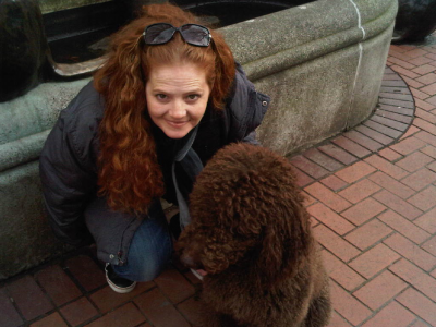 Daisy and me in downtown Portland