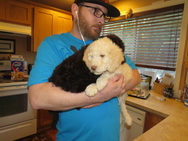 My husband Roy and an armful of puppies... big softy.