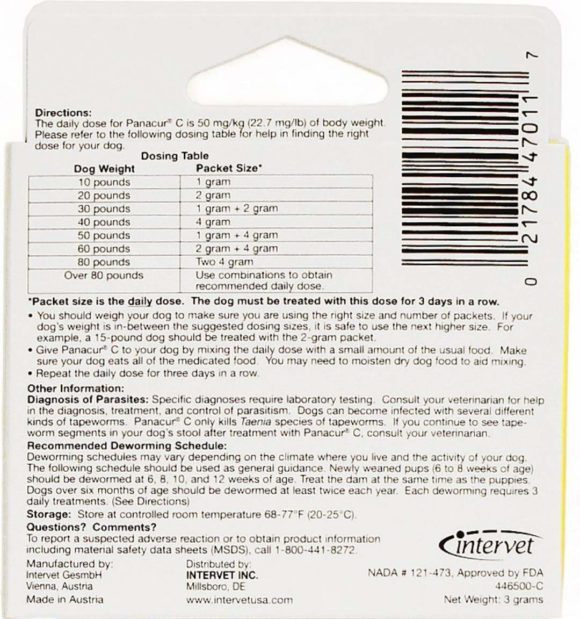 Panacur c dog dewormer dosage chart - back of the box instructions - canine dewormer