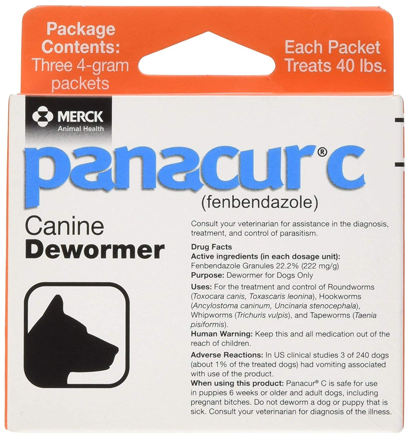 PANACUR C (FENBENDAZOLE) DOG DEWORMER GRANUELS FOR 40 LB DOGS ON AMAZON