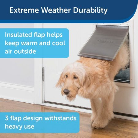 PetSafe Extreme Weather Energy Efficient Pet Door, Unique 3 Flap System, White, for Dogs and Cats also by PetSafe