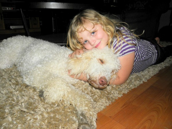 Standard Poodle Clover and my daughter Olivia